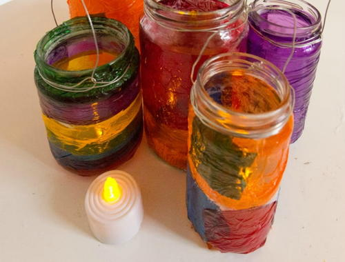 Mason Jar Cellophane Lanterns