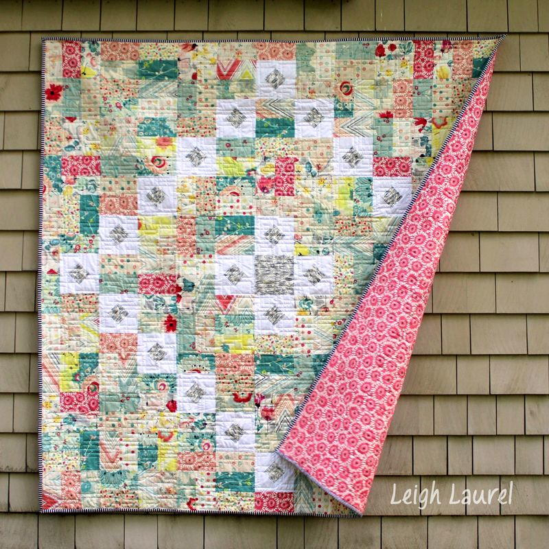 Squares and Rectangles Throw Quilt FaveQuilts.com
