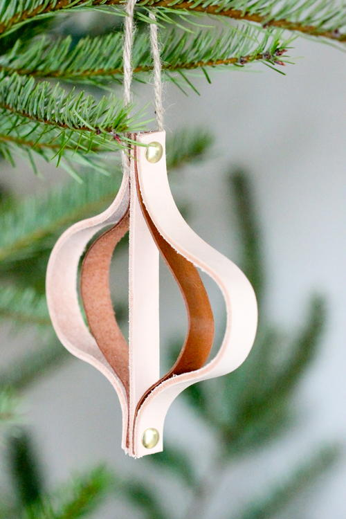 Rustic Leather DIY Christmas Ornament