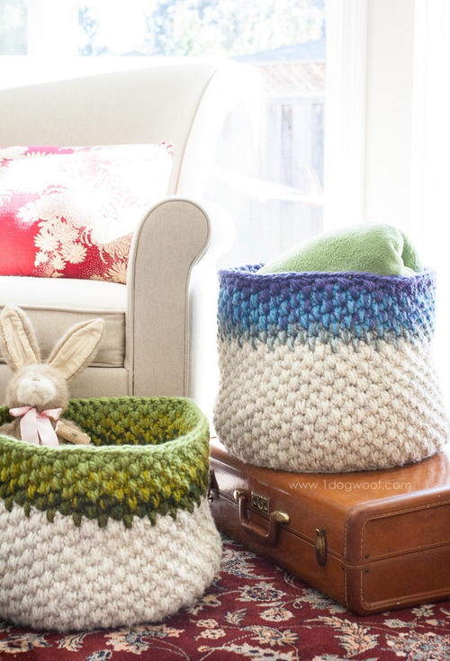 Colorblock Crochet Baskets