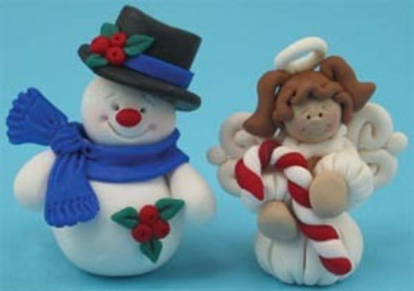 Polymer Clay Christmas Tree Decorations.Polymer Clay Snowman And Angel Ornaments
