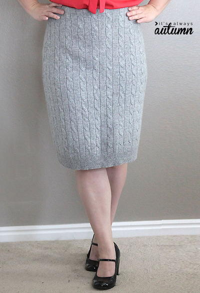 Cable Knit DIY Pencil Skirt