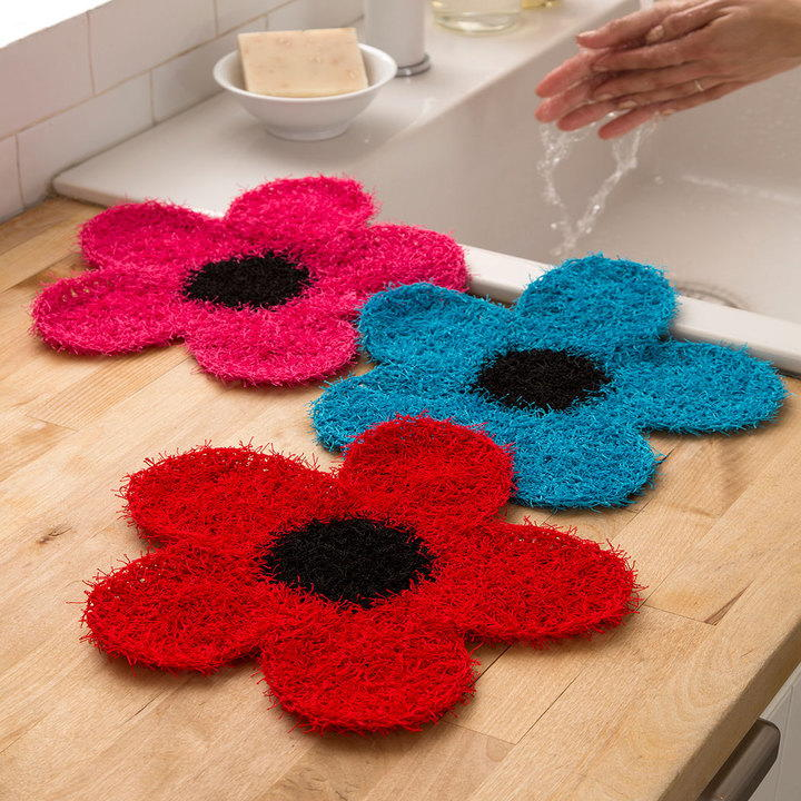 Srubby For Kitchen: Crochet Flower Dish Scrubber