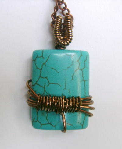 Brass Wire Wrapped Turquoise Pendant