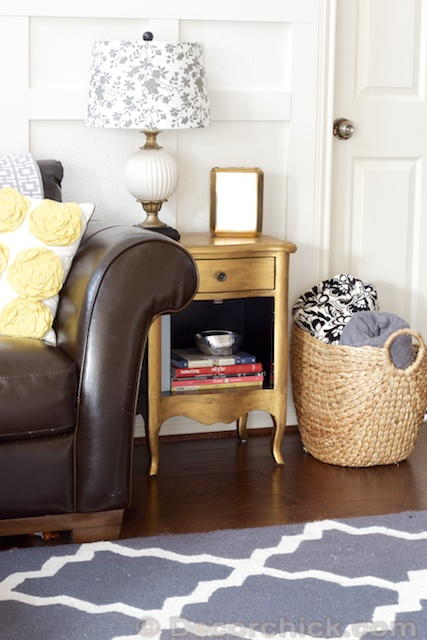 Metallic Gold Side Table Makeover