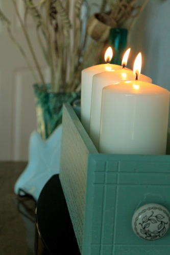 Old Drawer DIY Candle Holder