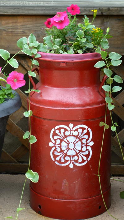 Painted Milk Can Planter