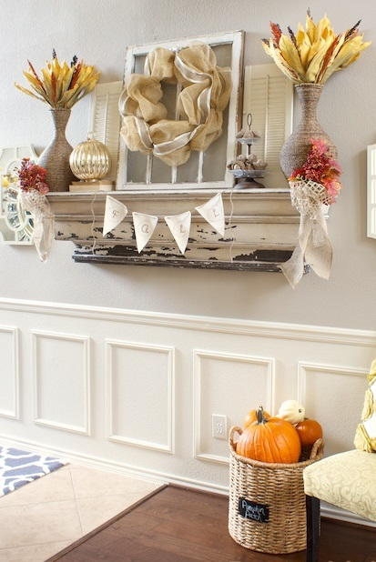 Mantel DIY Fall Decorations