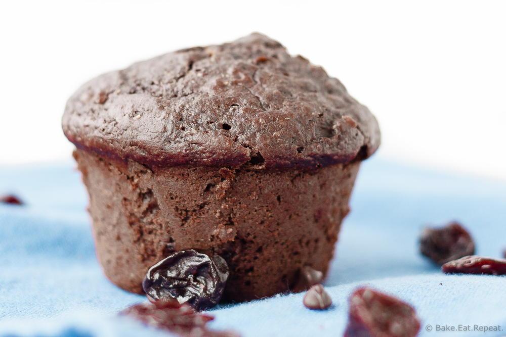 Double Chocolate Cherry Muffins | RecipeLion.com