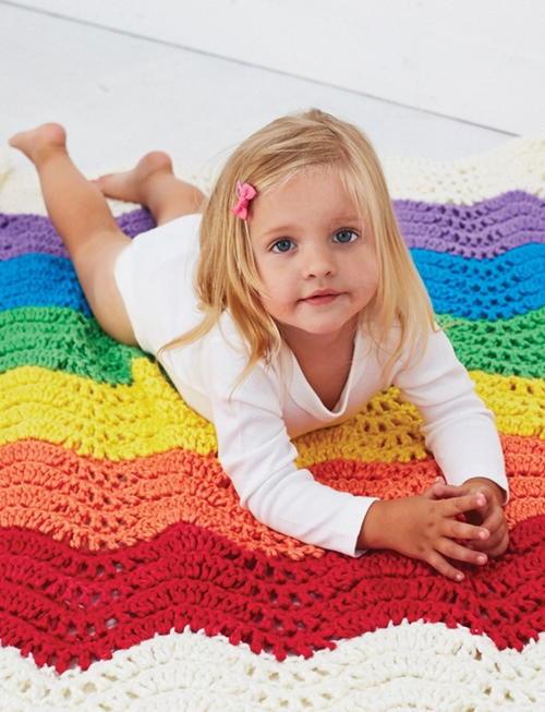 Wavy Rainbow Crochet Baby Blanket Pattern Favecraftscom