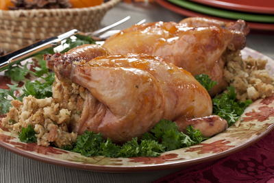 Cornish Hens with Apricot Stuffing