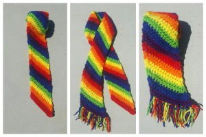 Cheery Rainbow Crochet Scarf