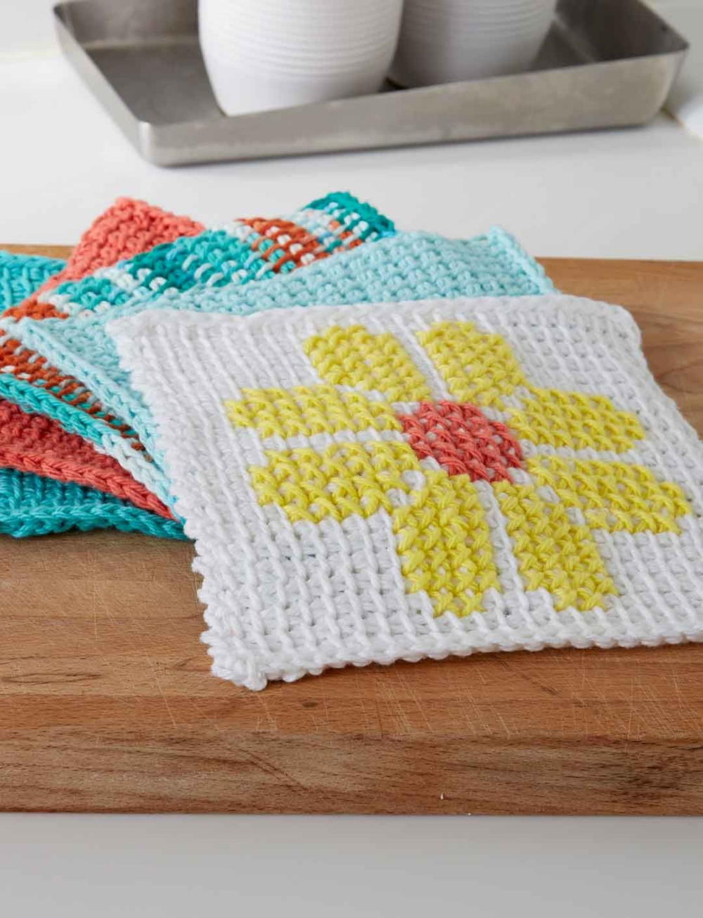 Tunisian Crochet Flower Dishcloth Allfreecrochet Com