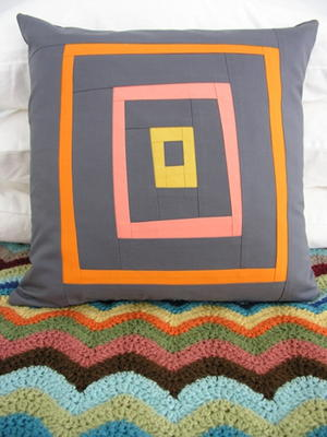 Free-form Log Cabin Pillow