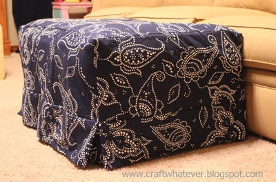 Ottoman Slipcover with Box Pleat Skirt