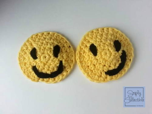 Smiley Face Crochet Coasters