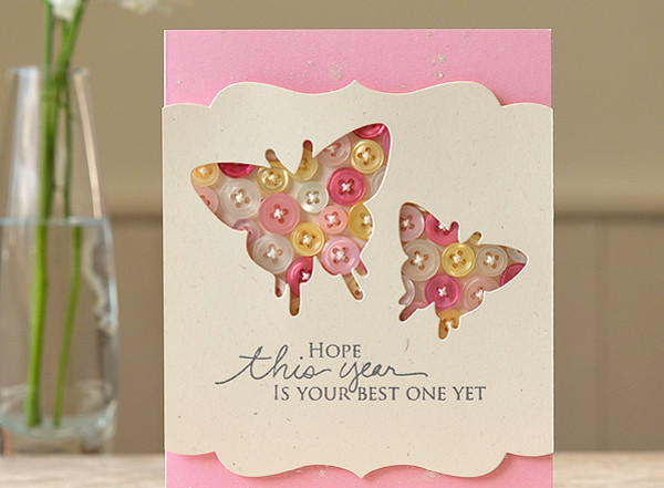 Button Butterfly Birthday Card