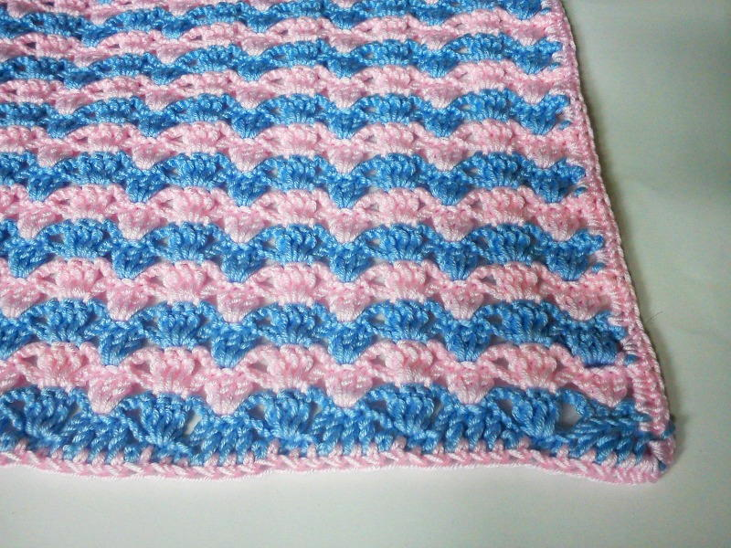 Crochet Patterns Of Baby Blankets : Quick Striped Crochet Baby Blanket FaveCrafts.com
