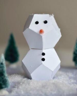 Cut and Fold Paper Snowmen