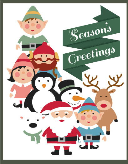 Seasons Greetings Printable Christmas Cards