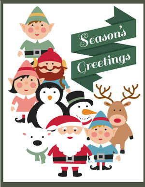 Season's Greetings Printable Christmas Cards