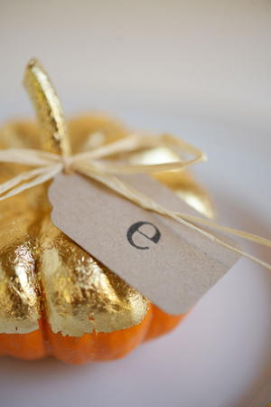 Gilded Pumpkin Fall Wedding Place Cards