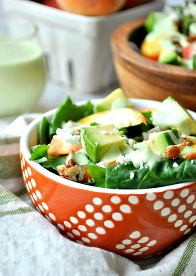 Southern Peach Salad with Green Goddess Dressing