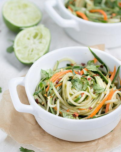 Cucumber Noodles wtih Spicy Sesame Soy Dressing