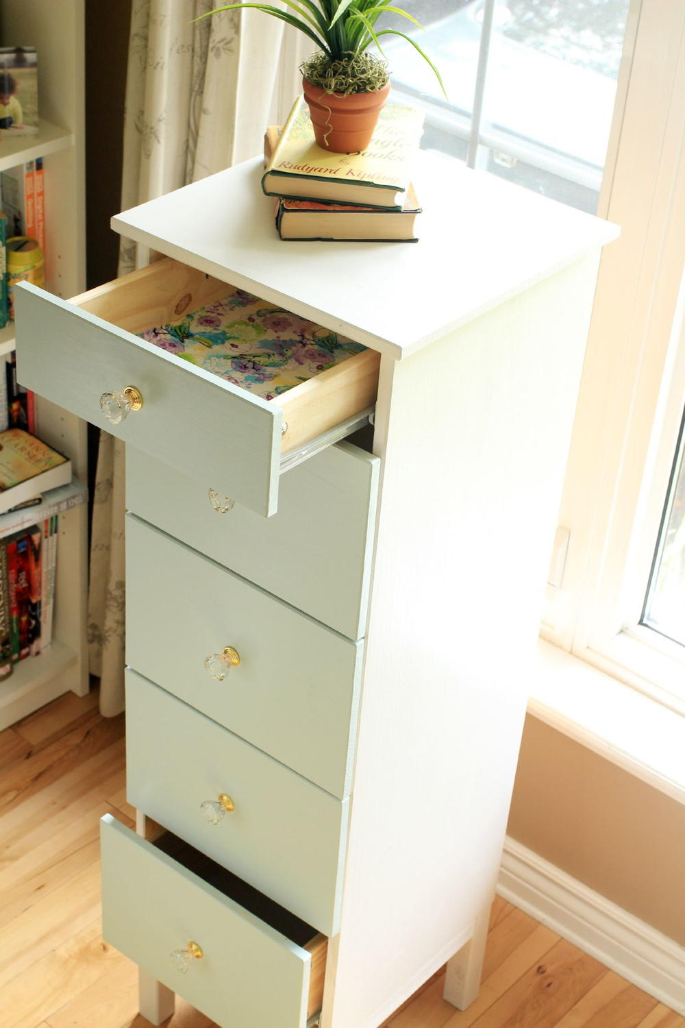 Ikea tarva dresser makeover with fabric lined drawers for Fabric drawers ikea expedit