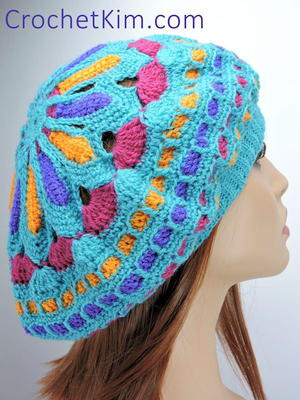 Bright Crochet Mandala Slouch Hat
