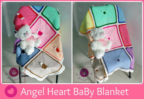 Angel Heart Crochet Baby Blanket