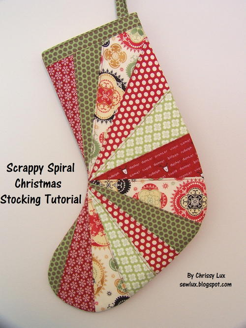 Scrappy Spiral Christmas Stocking
