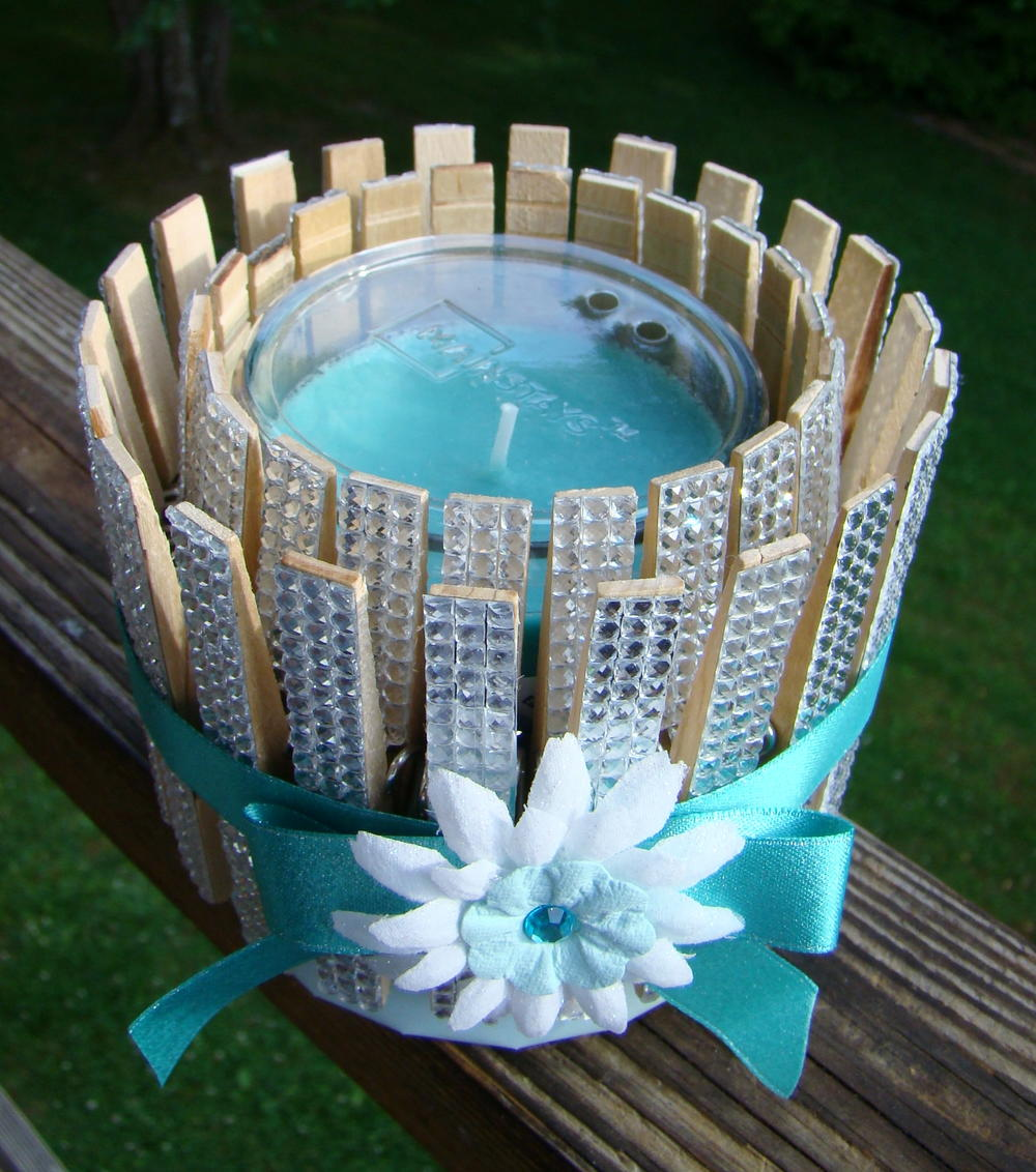 Clothespins And Bling Candle Holder Favecrafts Com