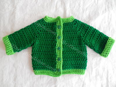 Crochet Pattern Central Baby Cardigans : Two Tone Baby Sweater AllFreeCrochet.com
