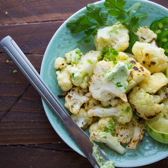 Grilled Cauliflower with Jalapeno Lime Butter