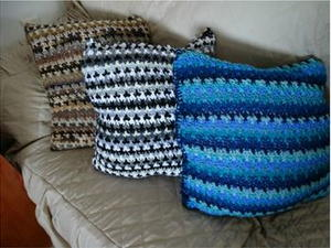 Scrap Yarn Crochet Pillow