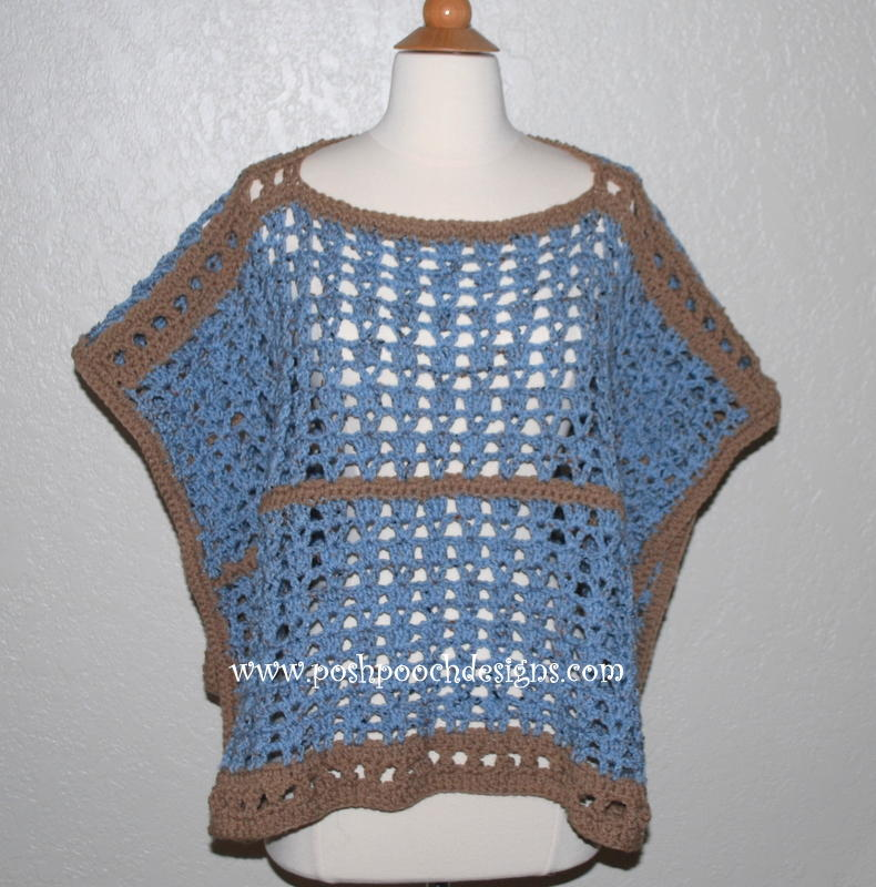 Free Crochet Pattern Mens Poncho : Sand and Sea Crochet Poncho AllFreeCrochet.com