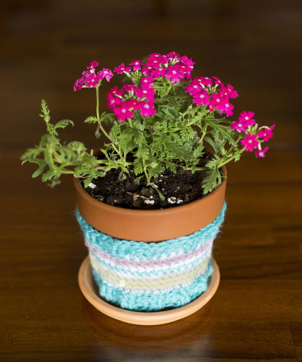 Striped Flower Pot Cozy Crochet Pattern