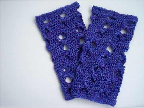 Purple Butterfly Crochet Leg Warmers