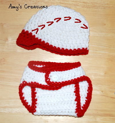 Crochet Baseball Hat & Diaper Cover Sizes (0-3 Months)