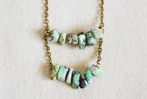 Double Row Turquoise Stone Nugget Necklace