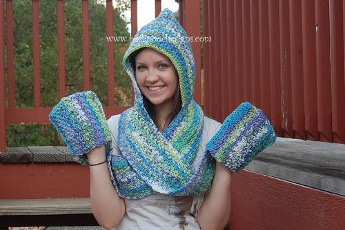 Crochet a Woman's Hooded Scarf and Mittens Pattern