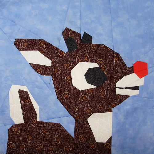 Paper Pieced Rudolph Block