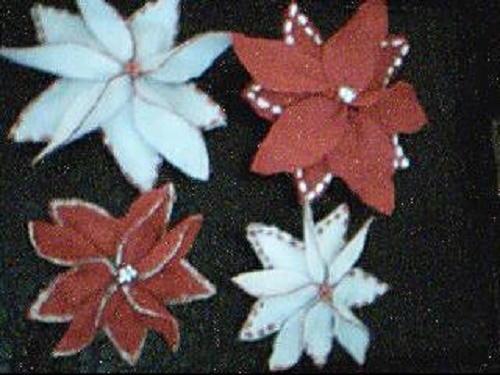 White and Red Felt Poinsettias