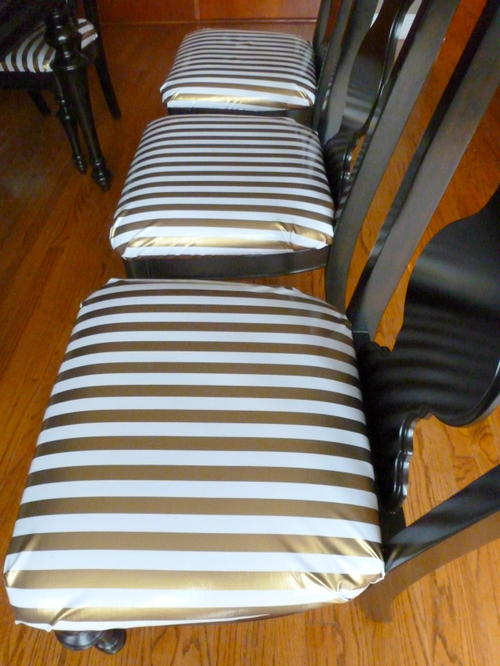 Oil Cloth Reupholstered Dining Chairs