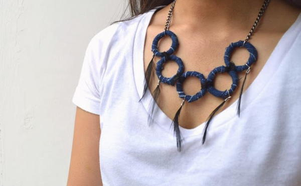 Denim-Wrapped DIY Necklace