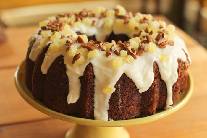 Hummingbird Bundt Cake With Pineapple Cream Cheese Glaze