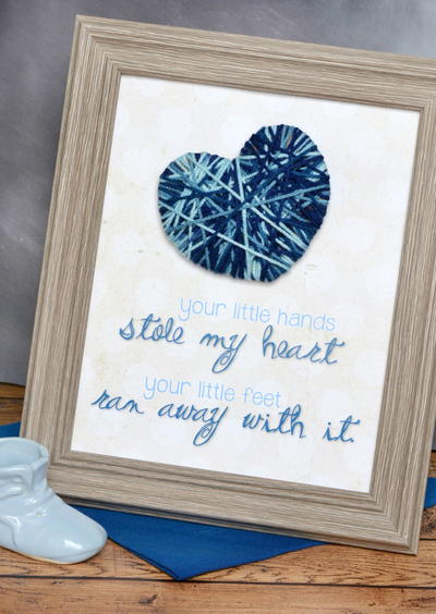"""Stole My Heart"" Nursery Yarn Art"