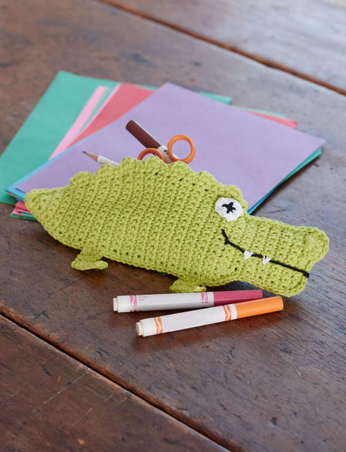 Crocodile Crochet Pencil Case