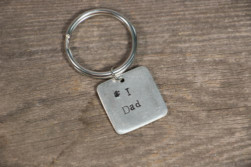 Fathers Day Stamped Metal DIY Keychain